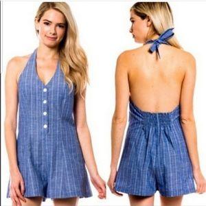 Love Tree blue striped buttoned romper size L